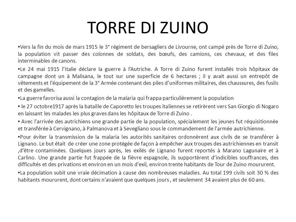 Vers la fin du mois de mars 1915 le 3° régiment de bersagliers de Livourne, ont campé près de Torre di Zuino, la population vit passer des colonnes de