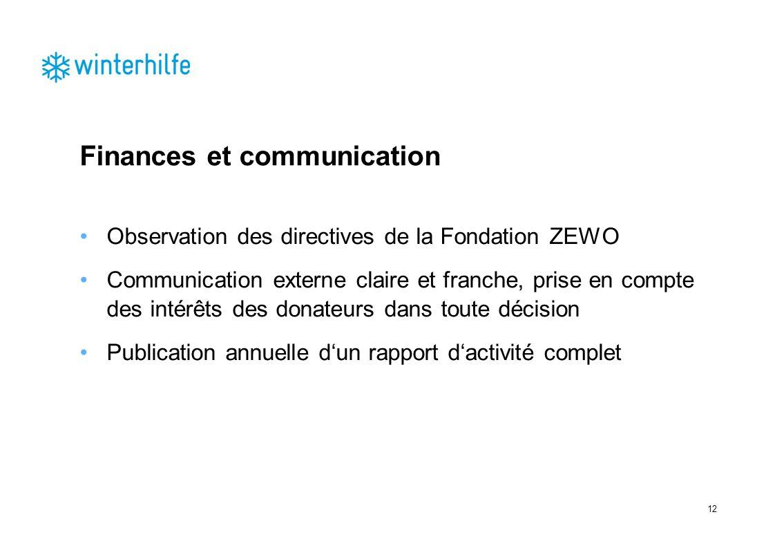 Finances et communication Observation des directives de la Fondation ZEWO Communication externe claire et franche, prise en compte des intérêts des donateurs dans toute décision Publication annuelle dun rapport dactivité complet 12