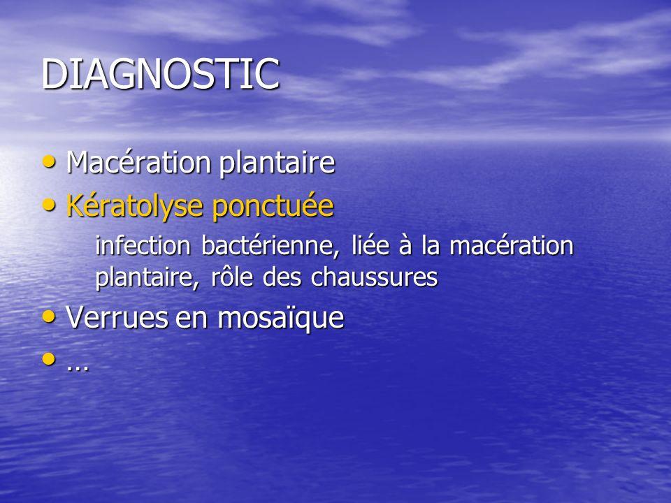DIAGNOSTIC Macération plantaire Macération plantaire Kératolyse ponctuée Kératolyse ponctuée infection bactérienne, liée à la macération plantaire, rôle des chaussures Verrues en mosaïque Verrues en mosaïque …
