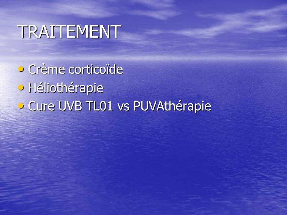 TRAITEMENT Crème corticoïde Crème corticoïde Héliothérapie Héliothérapie Cure UVB TL01 vs PUVAthérapie Cure UVB TL01 vs PUVAthérapie