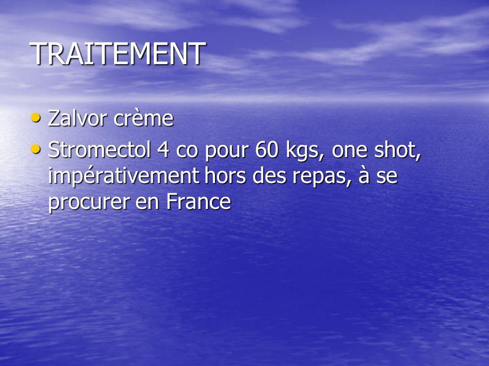 TRAITEMENT Zalvor crème Zalvor crème Stromectol 4 co pour 60 kgs, one shot, impérativement hors des repas, à se procurer en France Stromectol 4 co pour 60 kgs, one shot, impérativement hors des repas, à se procurer en France