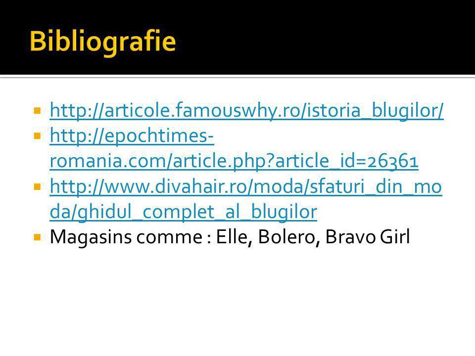 http://articole.famouswhy.ro/istoria_blugilor/ http://epochtimes- romania.com/article.php article_id=26361 http://epochtimes- romania.com/article.php article_id=26361 http://www.divahair.ro/moda/sfaturi_din_mo da/ghidul_complet_al_blugilor http://www.divahair.ro/moda/sfaturi_din_mo da/ghidul_complet_al_blugilor Magasins comme : Elle, Bolero, Bravo Girl