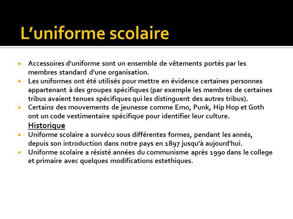 Accessoires d'uniforme sont un ensemble de vêtements portés par les membres standard d'une organisation. Les uniformes ont été utilisés pour mettre en