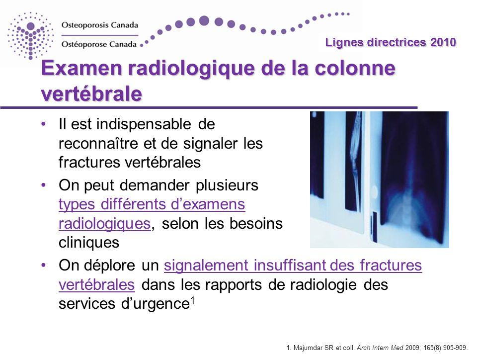 2010 Guidelines Tests additionnels de dépistage clinique des fractures vertébrales TestObjectifMéthodeInterprétation Distance côte- bassin 1 Repérer les fractures lombaires Mesurer la distance entre les côtes et la crête iliaque, à la ligne hémi-axillaire < 2 travers de doigts : associée à des fractures vertébrales Distance occiput-mur 2,3 Aider à repérer les signes de fractures de la colonne thoracique Position debout, talons et dos contre le mur > 5 cm : permet de soupçonner une fracture vertébrale 1.