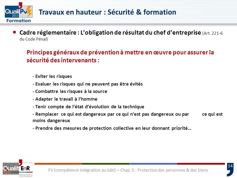 14 Cadre réglementaire : Lobligation de résultat du chef dentreprise (Art. 221-6 du Code Pénal) Principes généraux de prévention à mettre en œuvre pou