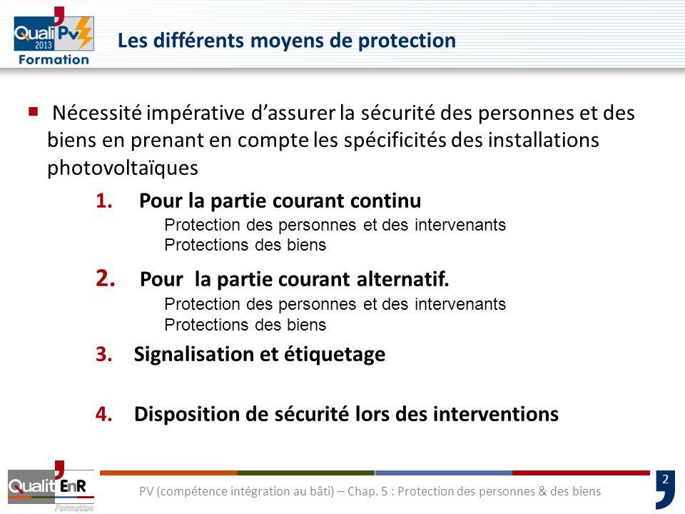 2 PV (compétence intégration au bâti) – Chap. 5 : Protection des personnes & des biens Nécessité impérative dassurer la sécurité des personnes et des