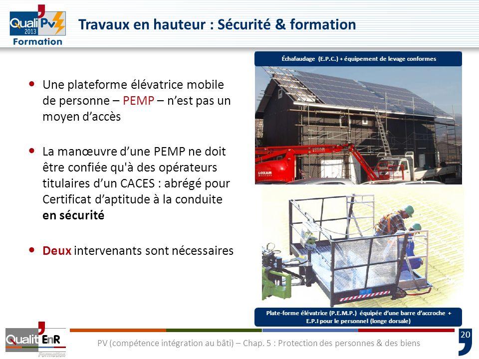 20 Une plateforme élévatrice mobile de personne – PEMP – nest pas un moyen daccès La manœuvre dune PEMP ne doit être confiée qu'à des opérateurs titul
