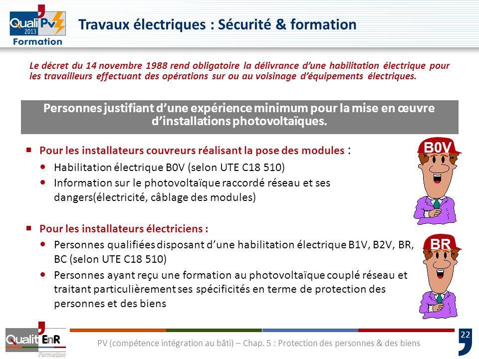 22 Pour les installateurs couvreurs réalisant la pose des modules : Habilitation électrique B0V (selon UTE C18 510) Information sur le photovoltaïque