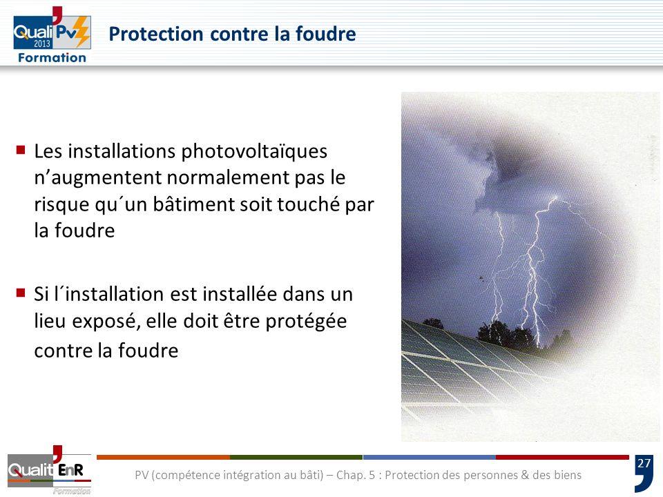 27 Protection contre la foudre Les installations photovoltaïques naugmentent normalement pas le risque qu´un bâtiment soit touché par la foudre Si l´i