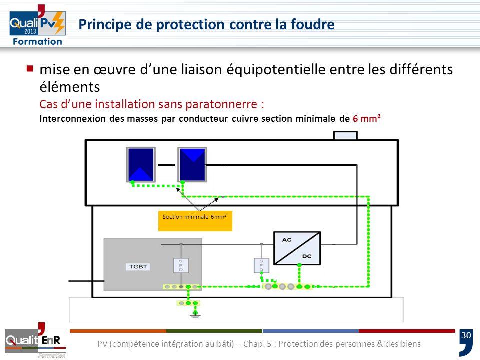 30 mise en œuvre dune liaison équipotentielle entre les différents éléments Cas dune installation sans paratonnerre : Interconnexion des masses par co