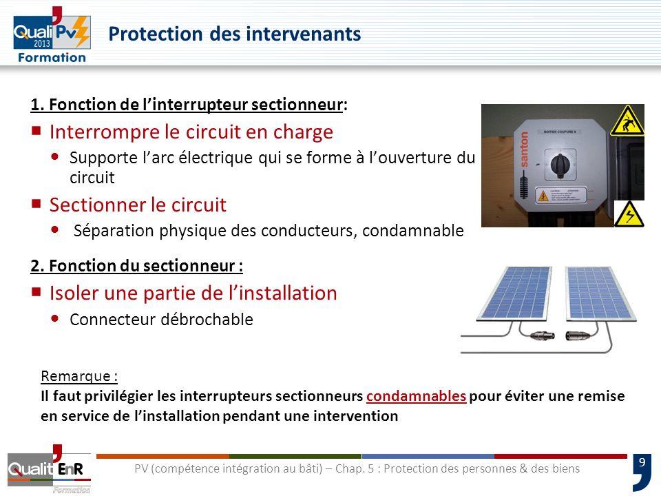 9 Protection des intervenants 1. Fonction de linterrupteur sectionneur: Interrompre le circuit en charge Supporte larc électrique qui se forme à louve