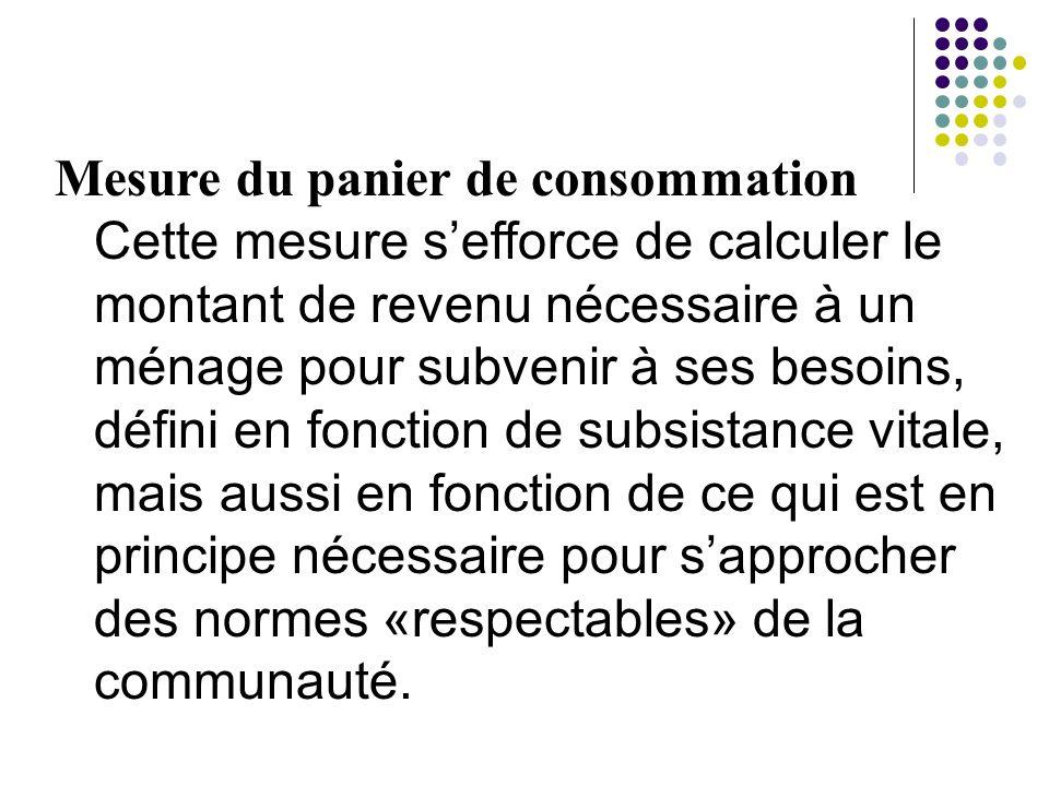 Mesure du panier de consommation Cette mesure sefforce de calculer le montant de revenu nécessaire à un ménage pour subvenir à ses besoins, défini en