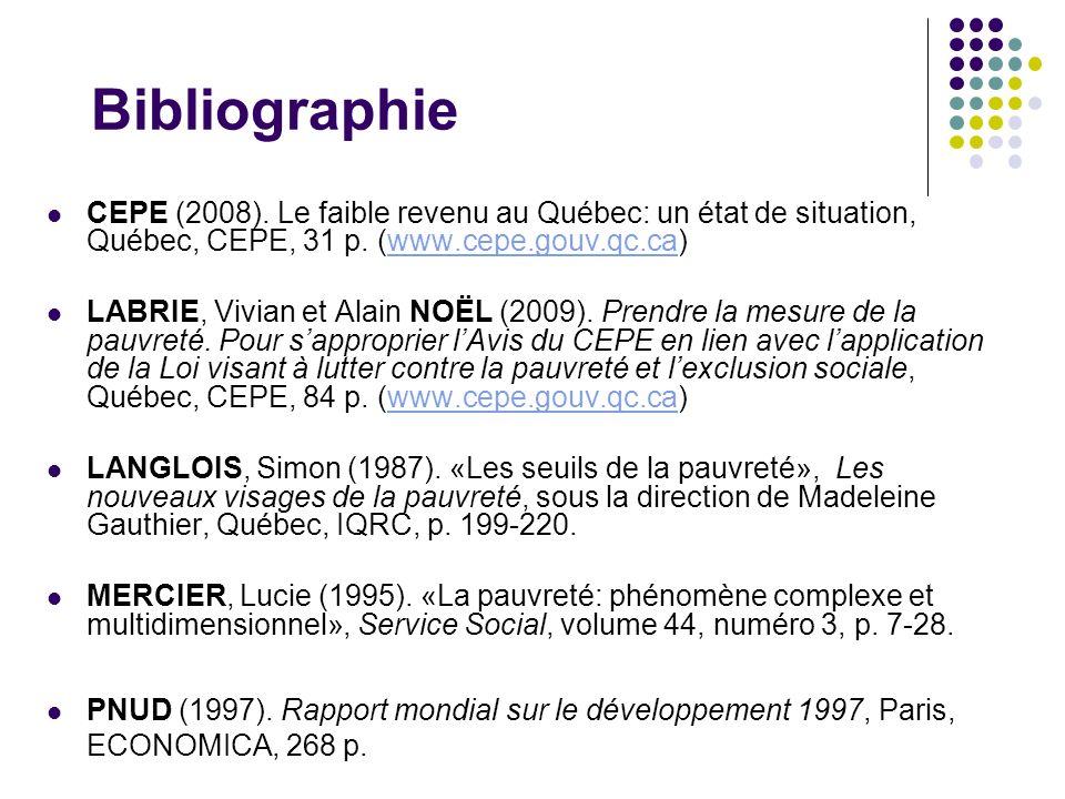 Bibliographie CEPE (2008). Le faible revenu au Québec: un état de situation, Québec, CEPE, 31 p. (www.cepe.gouv.qc.ca)www.cepe.gouv.qc.ca LABRIE, Vivi