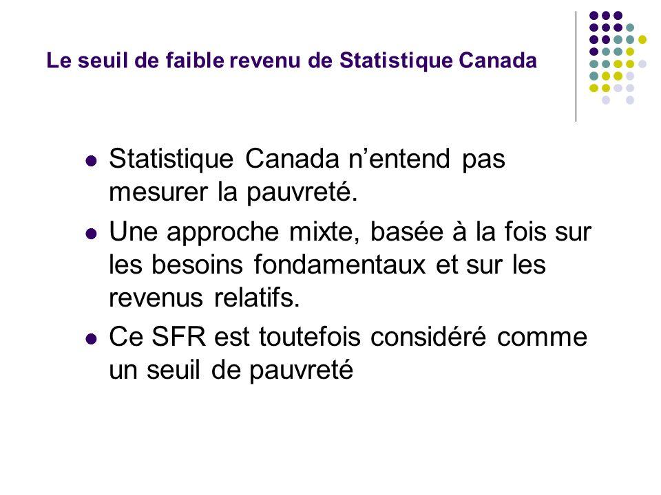 Le seuil de faible revenu de Statistique Canada Statistique Canada nentend pas mesurer la pauvreté. Une approche mixte, basée à la fois sur les besoin