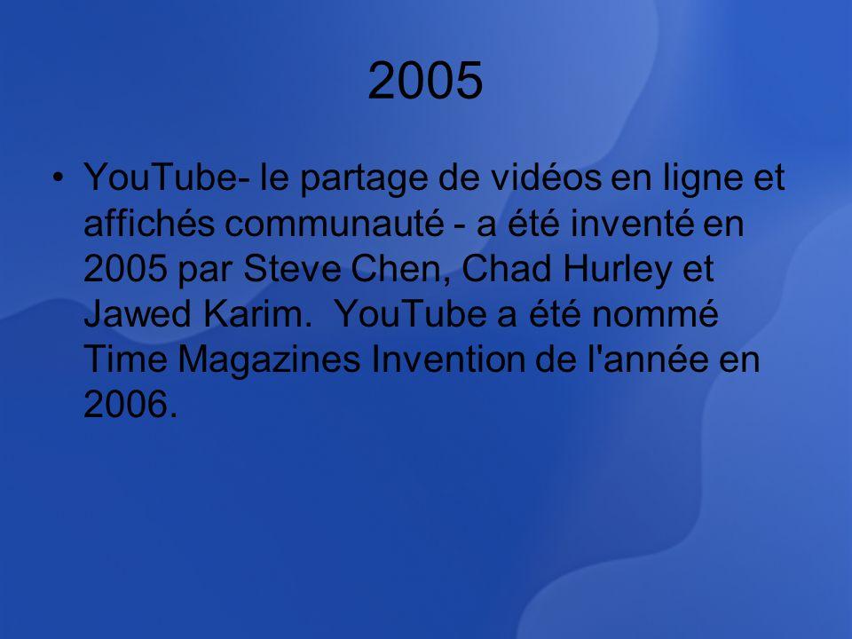 2005 YouTube- le partage de vidéos en ligne et affichés communauté - a été inventé en 2005 par Steve Chen, Chad Hurley et Jawed Karim.