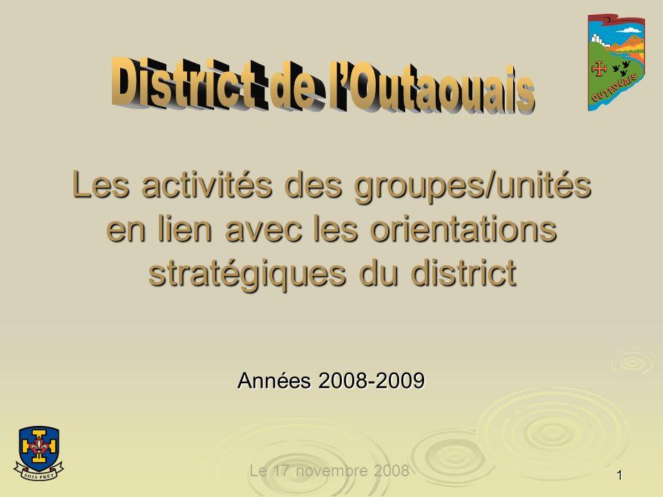 1 Les activités des groupes/unités en lien avec les orientations stratégiques du district Années 2008-2009 Le 17 novembre 2008