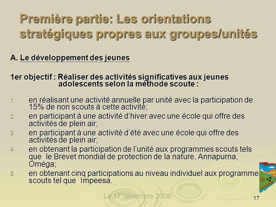 17 Première partie: Les orientations stratégiques propres aux groupes/unités Le développement des jeunes A.