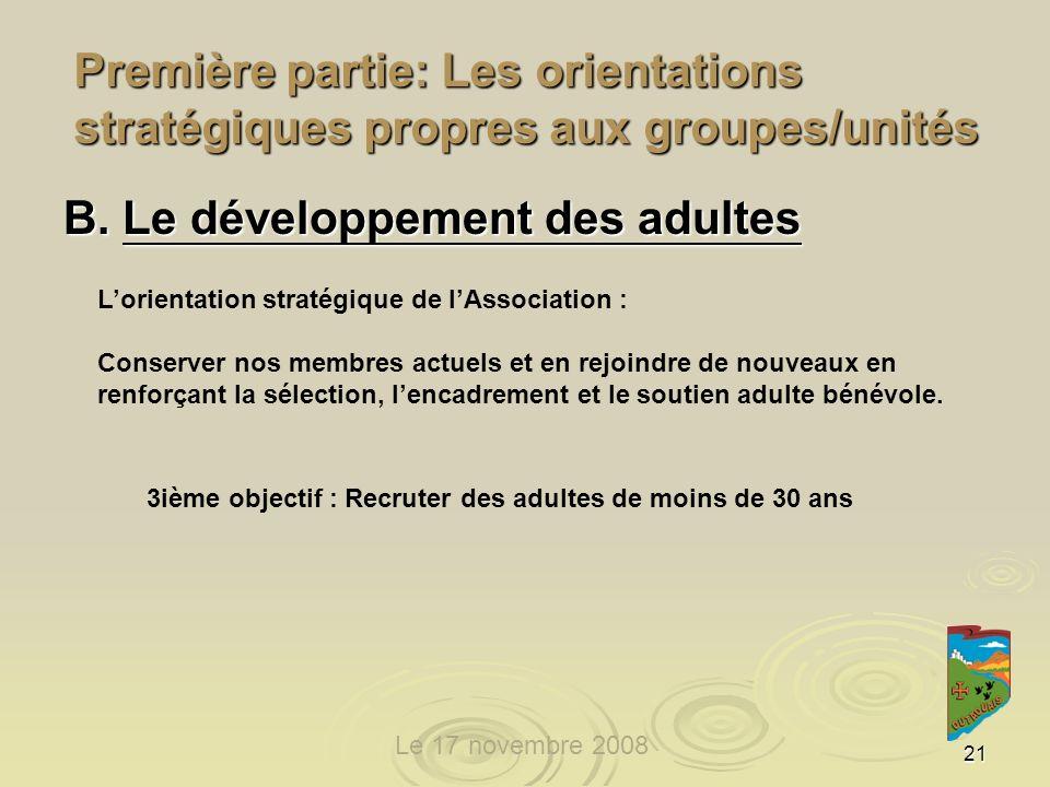 21 Première partie: Les orientations stratégiques propres aux groupes/unités 3ième objectif : Recruter des adultes de moins de 30 ans B.