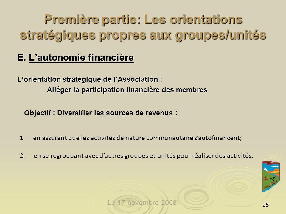 25 Première partie: Les orientations stratégiques propres aux groupes/unités E.