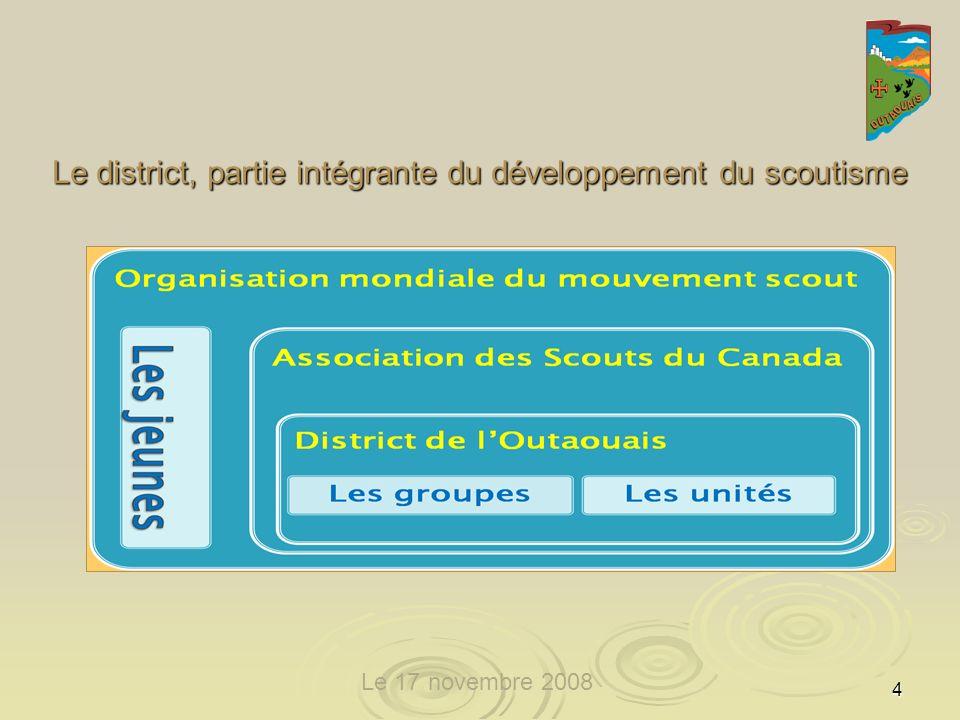 5 le 27 octobre 2008 LAssociation des Scouts du Canada offre le scoutisme en français aux jeunes Canadiens et aux jeunes Canadiennes en vue de contribuer à leur éducation sur les plans physique, intellectuel, affectif, social et spirituel en leur offrant un programme original destiné à les rendre responsables deux-mêmes et autonomes, capables de jouer un rôle utile dans la société.