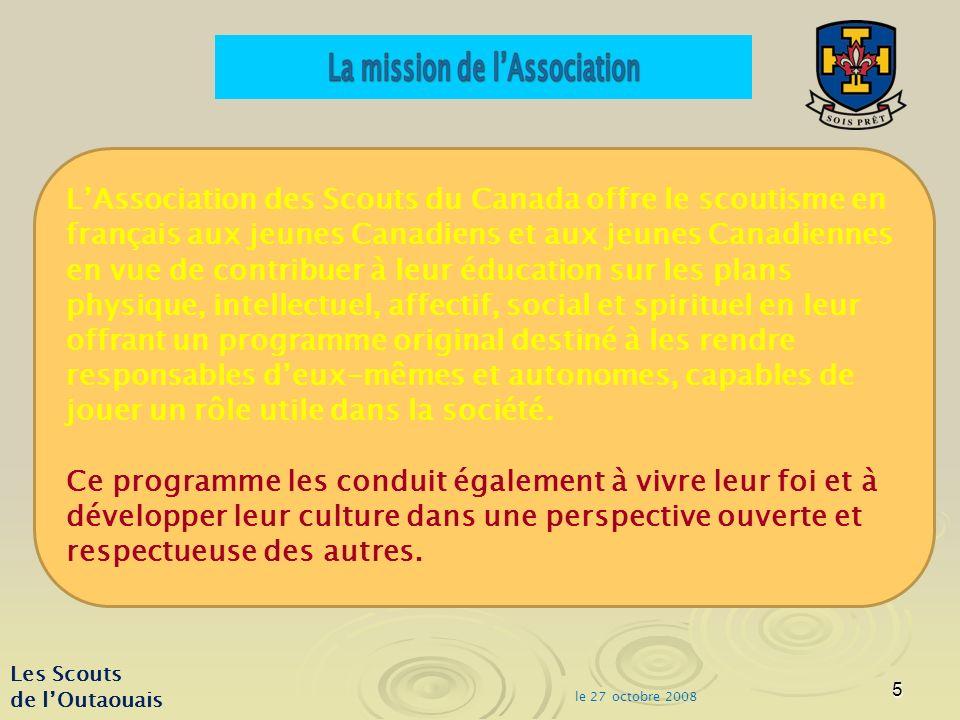 6 le 27 octobre 2008 Les Scouts de lOutaouais District de l Outaouais Anné e Castors (g) Castors (f) CastorsIron 7-8 ans 20051434418726213 2006106471539162 200711358171171 200810656162162 Pour les 7-8 ans Aujourdhui: 141 jeunes