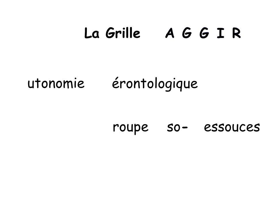 AGG I RLa Grille utonomie so- AG GIR érontologique roupeessouces