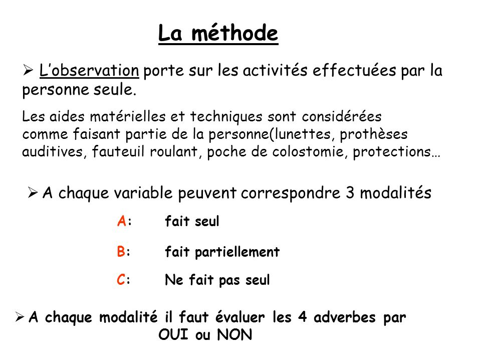 La méthode A chaque modalité il faut évaluer les 4 adverbes par OUI ou NON Lobservation porte sur les activités effectuées par la personne seule.