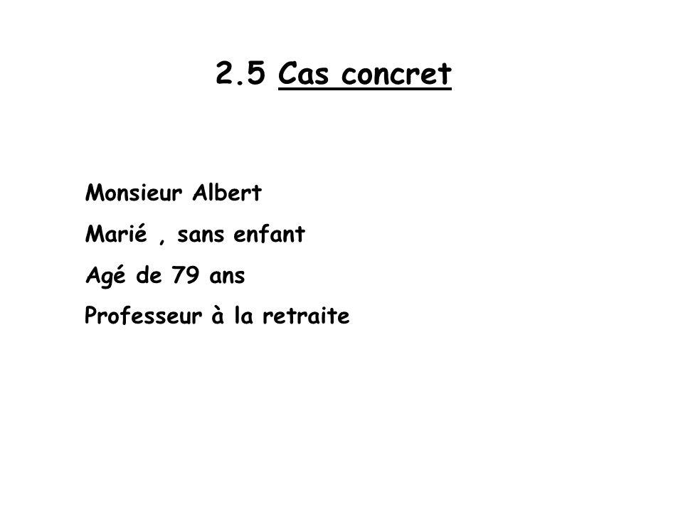 2.5 Cas concret Monsieur Albert Marié, sans enfant Agé de 79 ans Professeur à la retraite