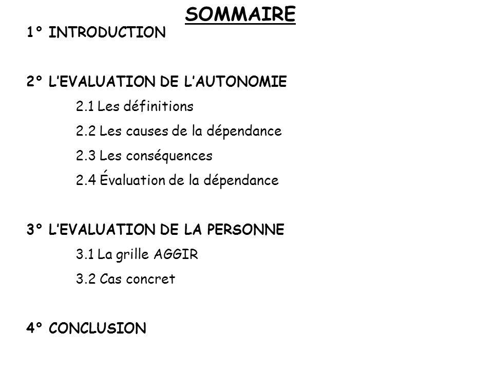 SOMMAIRE 1° INTRODUCTION 2° LEVALUATION DE LAUTONOMIE 2.1 Les définitions 2.2 Les causes de la dépendance 2.3 Les conséquences 2.4 Évaluation de la dépendance 3° LEVALUATION DE LA PERSONNE 3.1 La grille AGGIR 3.2 Cas concret 4° CONCLUSION