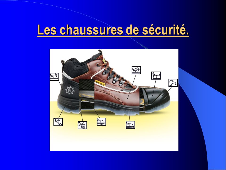 Il y a plusieurs types de chaussures de sécurité spécialement conçues pour protéger les pieds contre différents risques électrique, chimique, mécanique, thermique, etc.