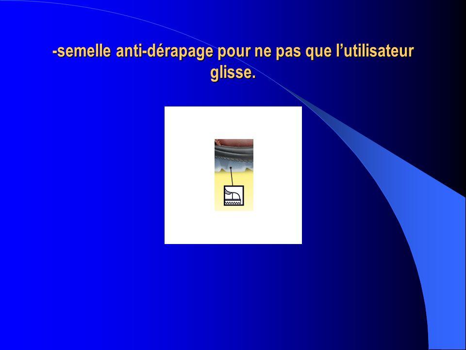 -semelle anti-dérapage pour ne pas que lutilisateur glisse.
