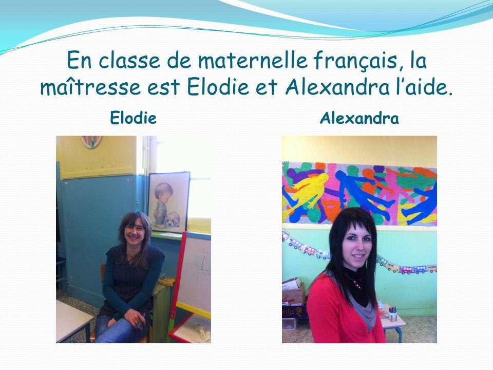 En classe de maternelle français, la maîtresse est Elodie et Alexandra laide. Elodie Alexandra