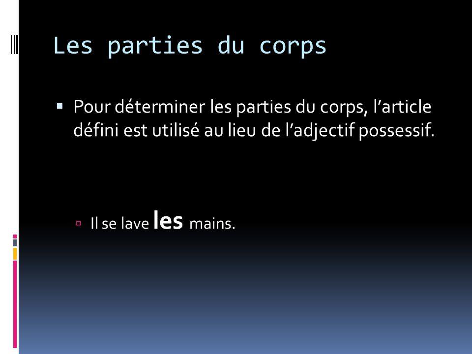 Les parties du corps Pour déterminer les parties du corps, larticle défini est utilisé au lieu de ladjectif possessif.