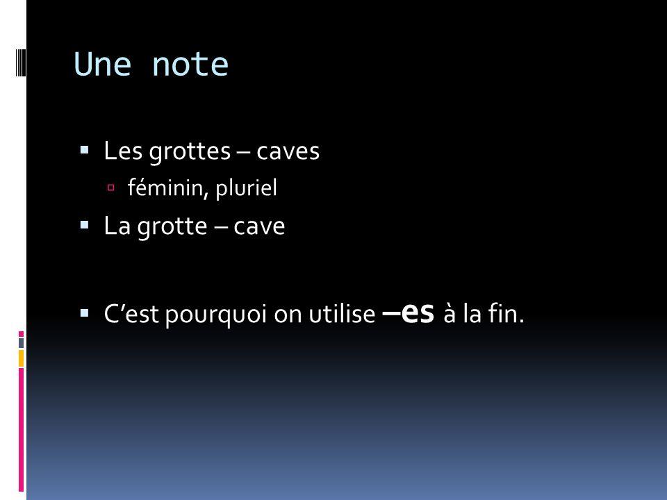 Une note Les grottes – caves féminin, pluriel La grotte – cave Cest pourquoi on utilise –es à la fin.