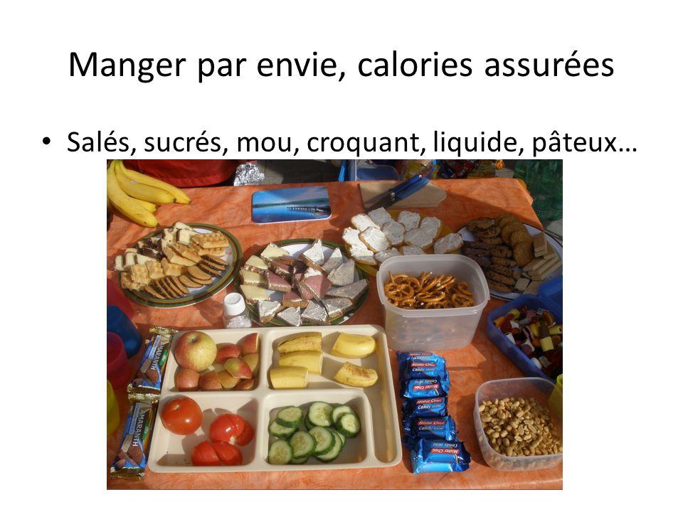 Manger par envie, calories assurées Salés, sucrés, mou, croquant, liquide, pâteux…