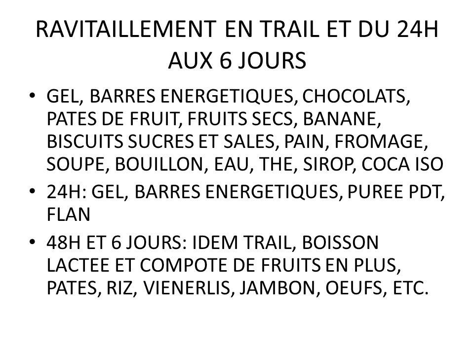 RAVITAILLEMENT EN TRAIL ET DU 24H AUX 6 JOURS GEL, BARRES ENERGETIQUES, CHOCOLATS, PATES DE FRUIT, FRUITS SECS, BANANE, BISCUITS SUCRES ET SALES, PAIN