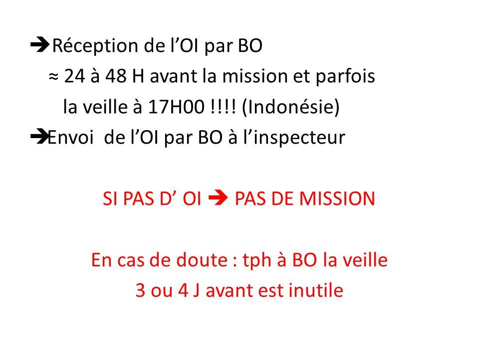 Réception de lOI par BO 24 à 48 H avant la mission et parfois la veille à 17H00 !!!.