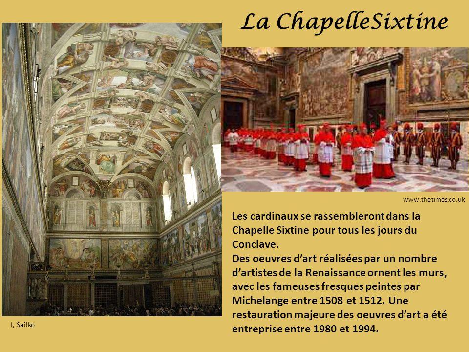 I, Sailko La ChapelleSixtine www.thetimes.co.uk Les cardinaux se rassembleront dans la Chapelle Sixtine pour tous les jours du Conclave. Des oeuvres d