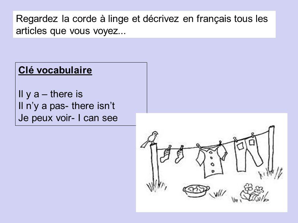 Regardez la corde à linge et décrivez en français tous les articles que vous voyez... Clé vocabulaire Il y a – there is Il ny a pas- there isnt Je peu