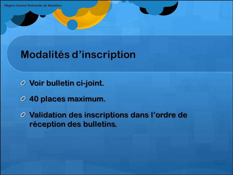 Modalités dinscription Voir bulletin ci-joint.40 places maximum.