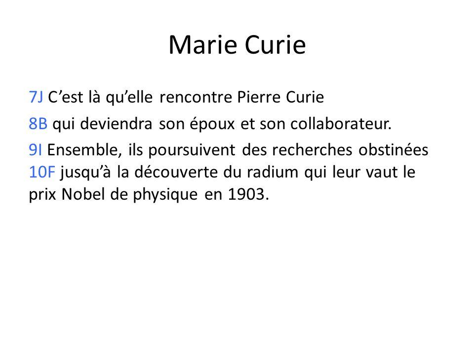 Marie Curie 7J Cest là quelle rencontre Pierre Curie 8B qui deviendra son époux et son collaborateur. 9I Ensemble, ils poursuivent des recherches obst