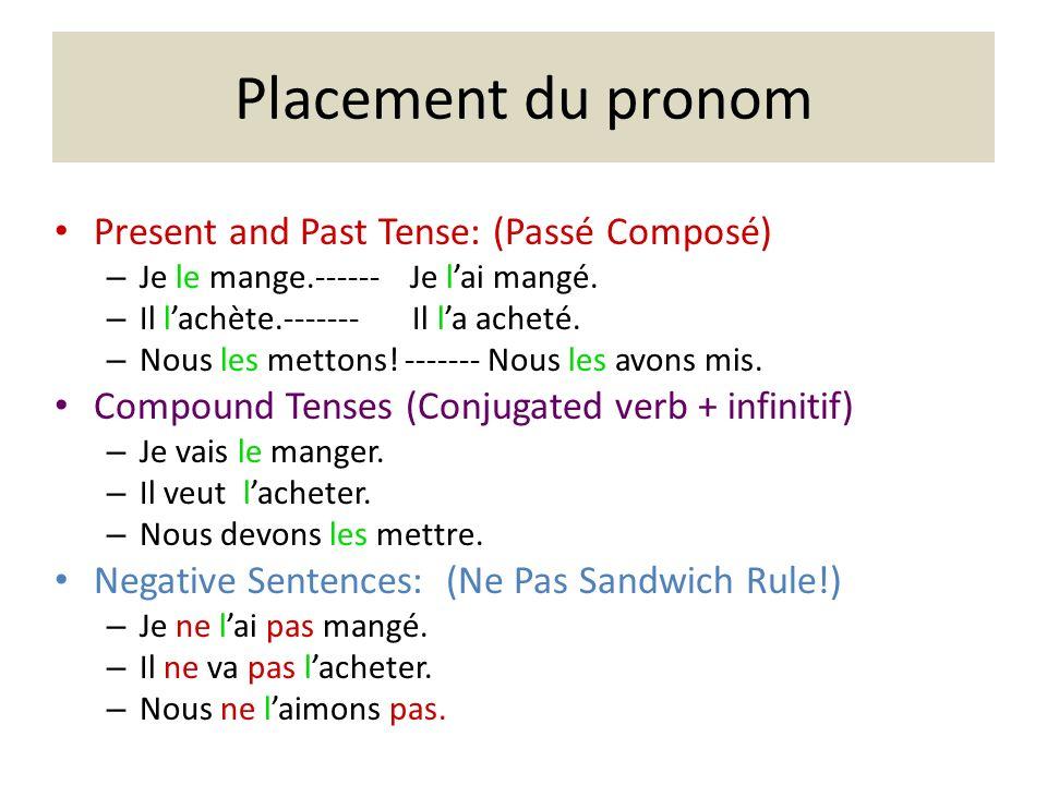 Placement du pronom Present and Past Tense: (Passé Composé) – Je le mange.------ Je lai mangé.