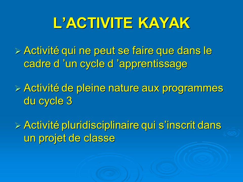 LACTIVITE KAYAK Activité qui ne peut se faire que dans le cadre d un cycle d apprentissage Activité qui ne peut se faire que dans le cadre d un cycle d apprentissage Activité de pleine nature aux programmes du cycle 3 Activité de pleine nature aux programmes du cycle 3 Activité pluridisciplinaire qui sinscrit dans un projet de classe Activité pluridisciplinaire qui sinscrit dans un projet de classe