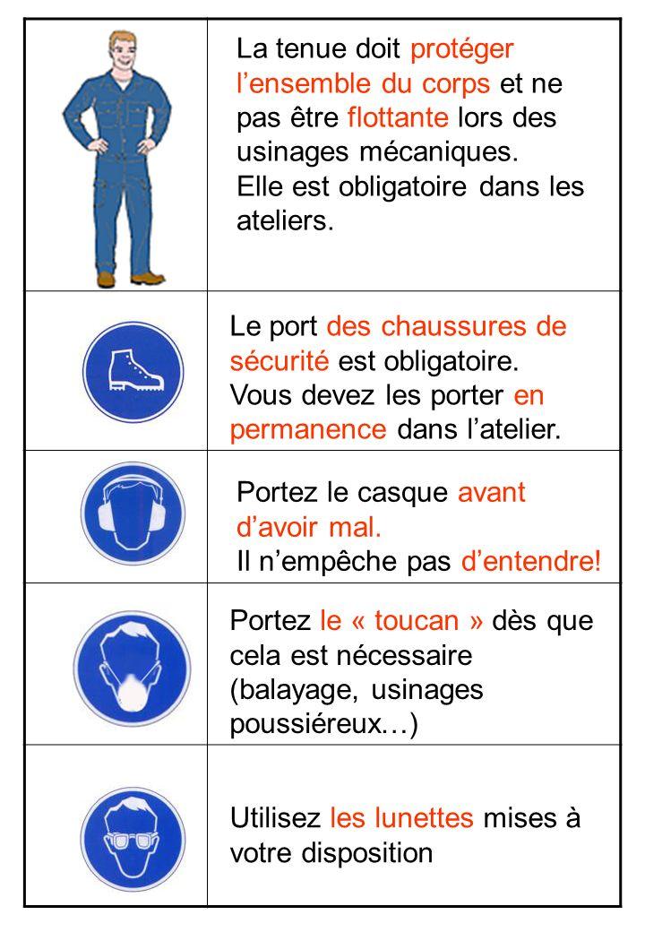 La tenue doit protéger lensemble du corps et ne pas être flottante lors des usinages mécaniques. Elle est obligatoire dans les ateliers. Le port des c