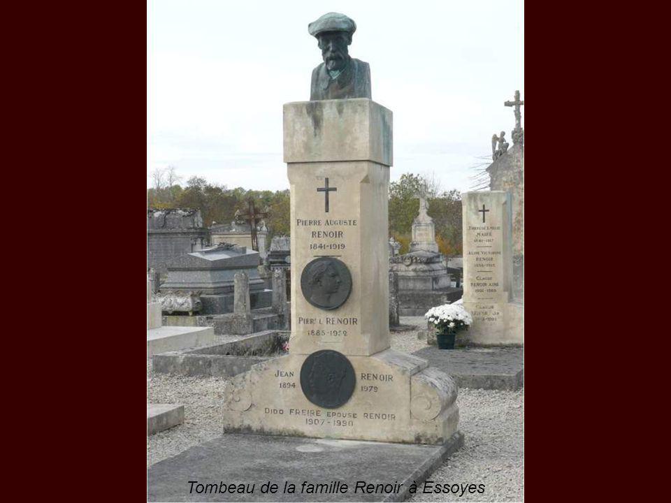 Pierre-Auguste Renoir est mort le 3 décembre 1919, après une forte pneumonie et sera enterré à Essoyes trois jours plus tard avec son épouse Aline Cha