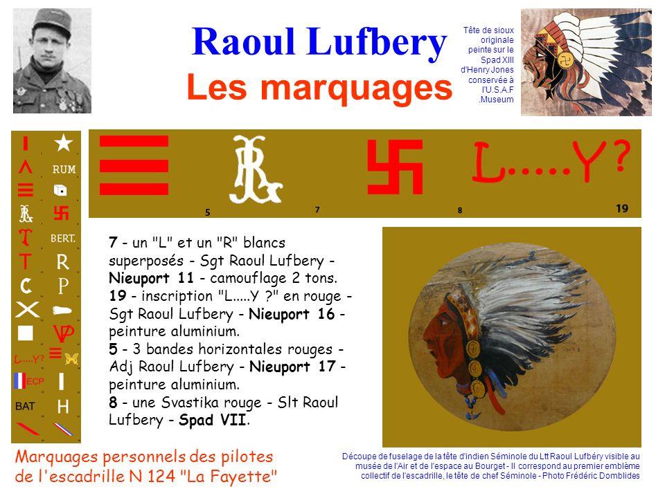 Raoul Lufbery Les marquages 7 - un L et un R blancs superposés - Sgt Raoul Lufbery - Nieuport 11 - camouflage 2 tons.