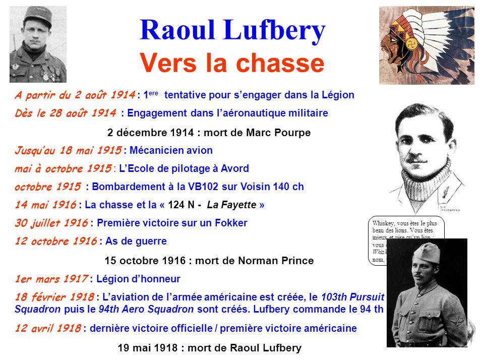 Raoul Lufbery Vers la chasse A partir du 2 août 1914 : 1 ere tentative pour sengager dans la Légion Dès le 28 août 1914 : Engagement dans laéronautiqu