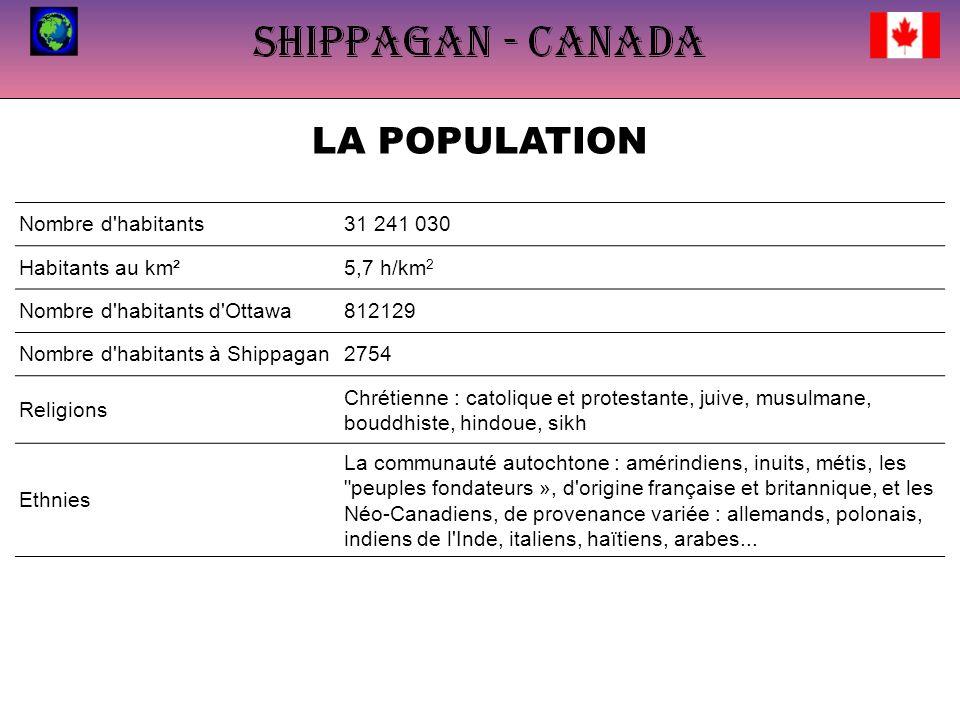 LA POPULATION Nombre d habitants31 241 030 Habitants au km²5,7 h/km 2 Nombre d habitants d Ottawa812129 Nombre d habitants à Shippagan2754 Religions Chrétienne : catolique et protestante, juive, musulmane, bouddhiste, hindoue, sikh Ethnies La communauté autochtone : amérindiens, inuits, métis, les peuples fondateurs », d origine française et britannique, et les Néo-Canadiens, de provenance variée : allemands, polonais, indiens de l Inde, italiens, haïtiens, arabes...