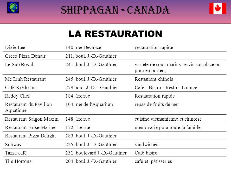 LA RESTAURATION.... Dixie Lee140, rue DeGrâcerestauration rapide Greco Pizza Donair211, boul. J.-D.-Gauthier Le Sub Royal241, boul. J.-D.-Gauthiervari