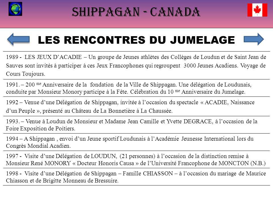 LES RENCONTRES DU JUMELAGE 1989 - LES JEUX DACADIE – Un groupe de Jeunes athlètes des Collèges de Loudun et de Saint Jean de Sauves sont invités à participer à ces Jeux Francophones qui regroupent 3000 Jeunes Acadiens.